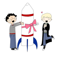 and a rocketship by AVPMismylife