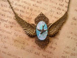 In Flight Fused Glass and Brass Necklace by FusedElegance