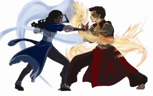 Zutara Fight- Coloured by zarrah-chan
