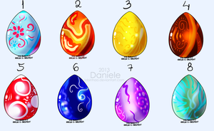 Eastern dragon egg adoptable 7 point each by Lobinhaa