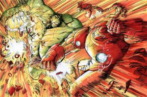 HUlK vs Iron-man's Hulkbuster and drones by kourmpamp