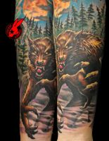 Werewolf Tattoo by Jackie Rabbit by jackierabbit12