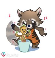 Rocket and Groot by mmishee