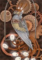 ACEO - Steampunk-Phoenix by BloodhoundOmega