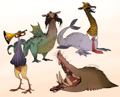 A bunch of dragons by CrazyRatty