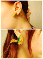 Green tentacle earrings by Mirish