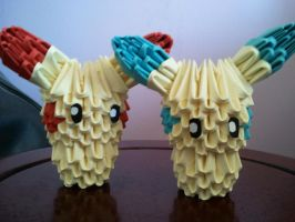 Origami Minun and Plusle ^^ by Moonlightspiral