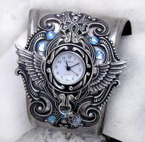 Steampunk Watch -Silver + Aqua by Aranwen
