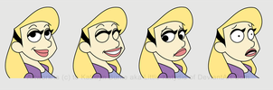 Retro Cartoon Girl Expression Sheet by Little-Katydid