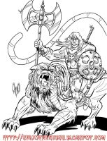 HE-MAN and Battle Cat by violencejack666