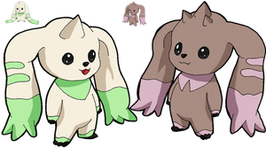 Terriermon and Lopmon by Tails19950