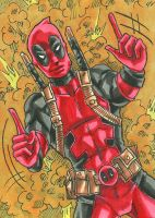 Deadpool Sketch Card by ibroussardart