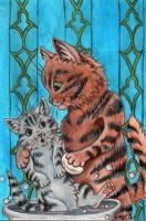 Bath Time: Louis Wain Tribute by AquariusWolf