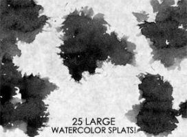 25 Large Watercolor SPLATS by HumanOddball
