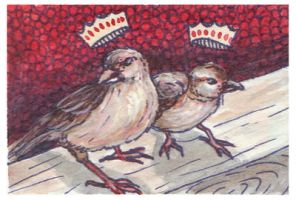 Twin Finches as Princes ACEO by AshleighPopplewell