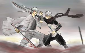 Gintoki vs Oboro by GinSoul