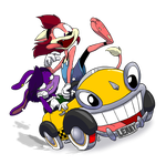 Sarah and Celie on the Car Toon Spin by Atrox-C