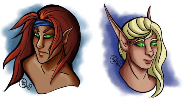 Two Elves by hawkemai
