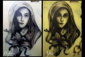 Virgin Mary Practice Tattoo Touch Up by P-O-R-K-Y