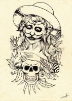 women  and the skull by Lhale