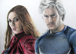 Scarlet Witch and Quicksilver Drawing by EduardoCopati