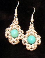 Turquoise and silver earrings by chainmaille