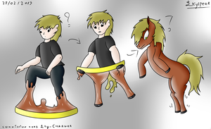 Ring of transformation men to horse by SkyspearDraw