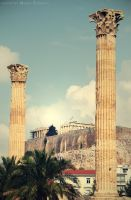 acropolis between columns by maremerald