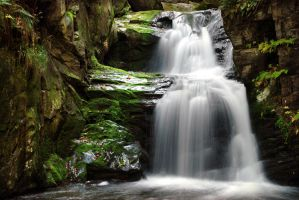 waterfall in the forest by CoIIIs