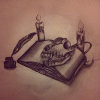 Skull and book by Ancora-Kimberley