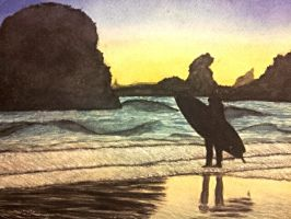 surfer silhouette by Muirrine