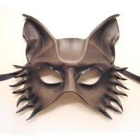 Grey Wolf Fox Dog Leather Mask by teonova
