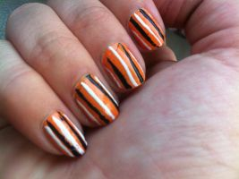 Orange Stripes, done with left hand..... by Ivory-Ire