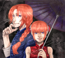 Kamui and Kagura - Gintama by Equestrian-Equine