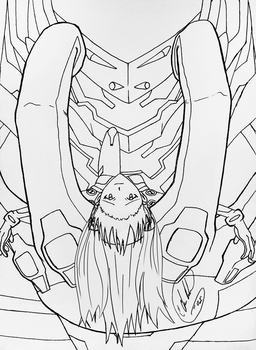 Asuka and Unit 02 ink for coloring later... by CDAMJC