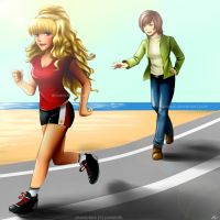 Commission: Presha and Tea Jogging by annaoi