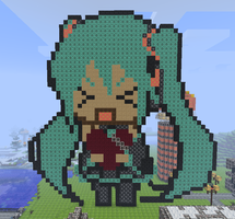 Miku in Minecraft by RandomDraggon