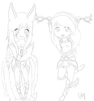 Lux and Ahri, WiP by A-Psycho-Banana