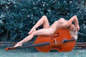 bass, beauty, and a fly is listening by MarcBergmann