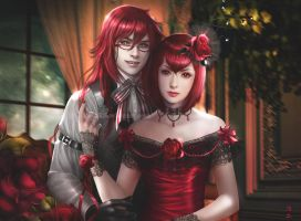 Grell Sutcliff and Madam Red by K-Koji