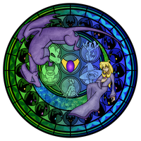 Commmission: Stained Glass: Reversal of the Heart by Akili-Amethyst