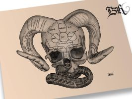 Horned skull with snake in mouth by berhoff
