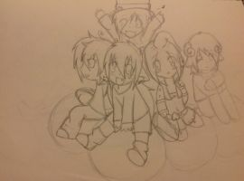 Sketch---my amazing friends and me! by FluffyKawaiiPuppy