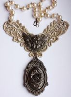 Steampunk Cherub Necklace by Pinkabsinthe