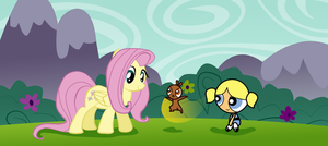 Fluttershy, Bullet and Bubbles by vmkhappy-panda