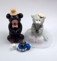 Black Bear and Grey Tabby Cat Wedding Cake Topper by HeartshapedCreations