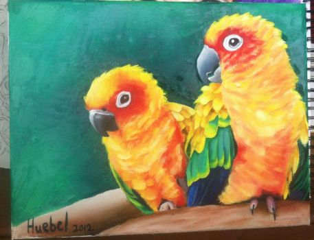 Colorful birds by TheQuietArtist12