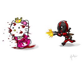 DeadpoolxHellokitty by lamp0s