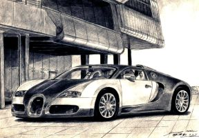Bugatti EB Veyron 2009 Drawing by toyonda