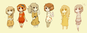 A LOT of sketchy girl adopts! by hanecco